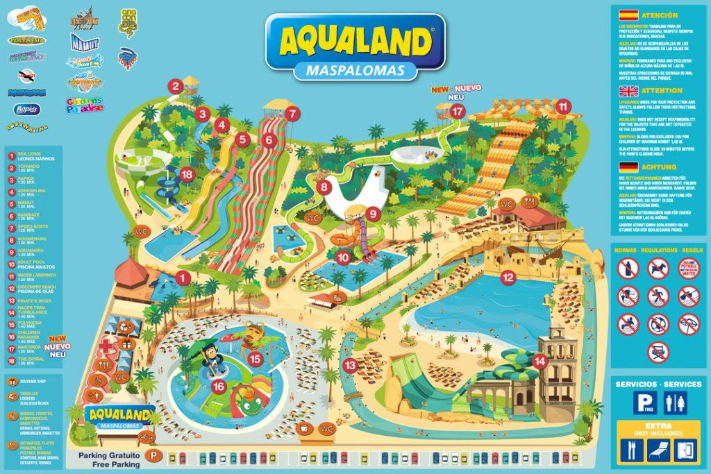 Plano del parque Aqualand Maspalomas