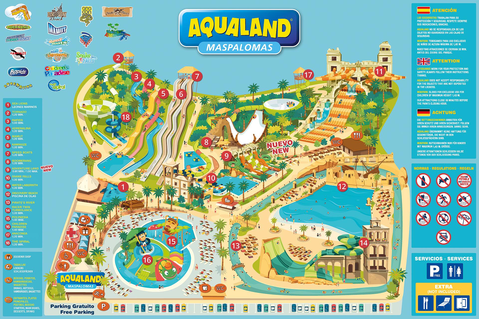 tourist map aqualand maspalomas